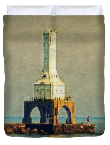 The Lighthouse And The Fisherman Duvet Cover by Mary Machare