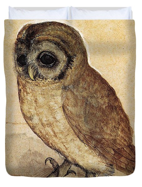 The Little Owl 1508 Duvet Cover by Albrecht Durer