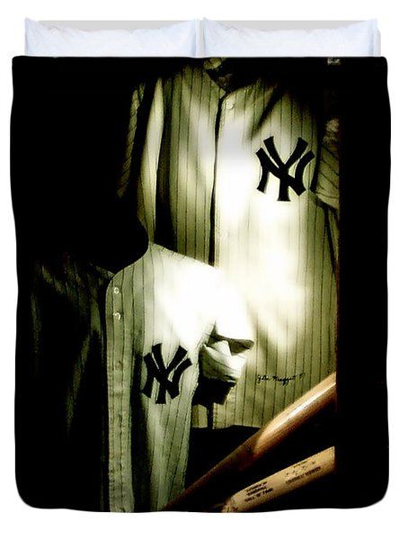 The Locker  Mickey Mantle's And Joe Dimaggio's Locker Duvet Cover by Iconic Images Art Gallery David Pucciarelli
