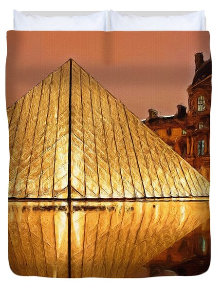 The Louvre By Night Duvet Cover by Ayse Deniz