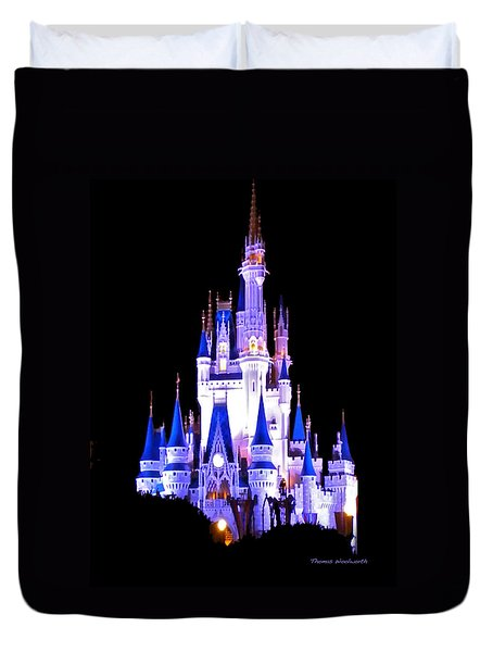 The Magic Kingdom Castle In Blue And Purple Walt Disney World Fl Duvet Cover by Thomas Woolworth