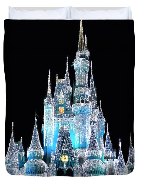 The Magic Kingdom Castle In Frosty Light Blue Walt Disney World Duvet Cover by Thomas Woolworth