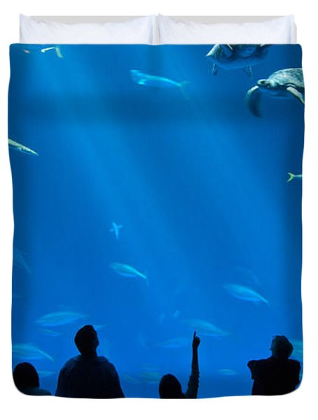 The Magnificent Open Sea Exhibit At The Monterey Bay Aquarium. Duvet Cover by Jamie Pham