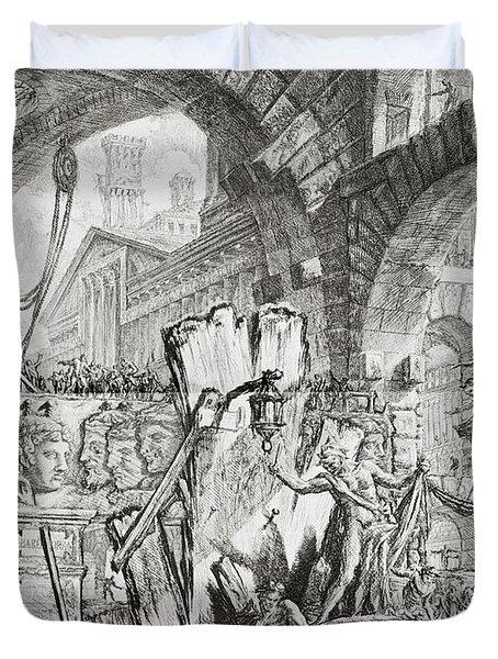 The Man On The Rack Plate II From Carceri D'invenzione Duvet Cover by Giovanni Battista Piranesi