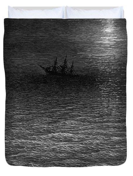 The Marooned Ship In A Moonlit Sea Duvet Cover by Gustave Dore