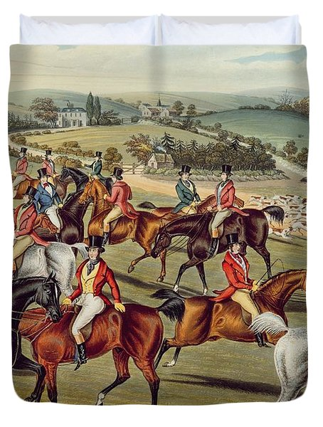 'the Meet' Plate I From 'fox Hunting' Duvet Cover by Charles Senior Hunt