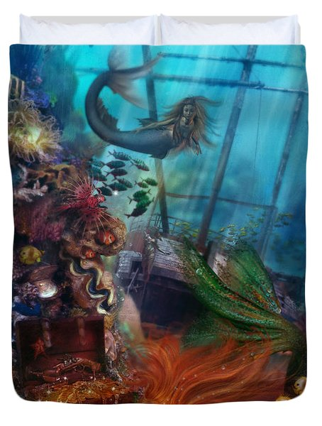 The Mermaids Treasure Duvet Cover by Aimee Stewart