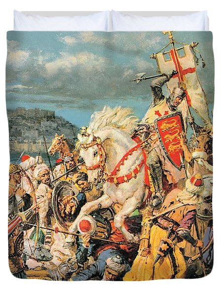 The Mighty King Of Chivalry Richard The Lionheart Duvet Cover by Fortunino Matania