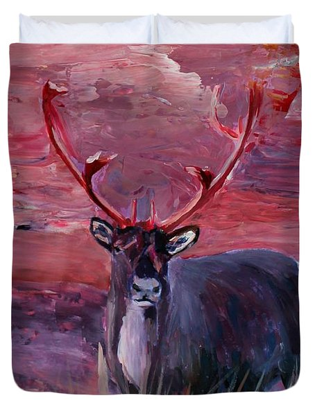The Mighty Moose Mongoose Reindeer Elk Rentier Caribou Duvet Cover by M Bleichner