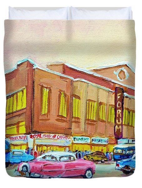 The Montreal Forum Duvet Cover by Carole Spandau
