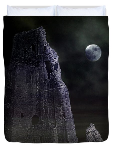 The Moonshine On The Castle Duvet Cover by Terri  Waters