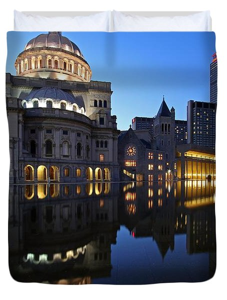 The Mother Church And The Pru Duvet Cover by Juergen Roth