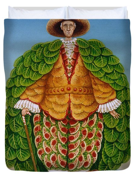 The New Vestments Ivor Cutler As Character In Edward Lear Poem, 1994 Oils And Tempera On Panel Duvet Cover by Frances Broomfield