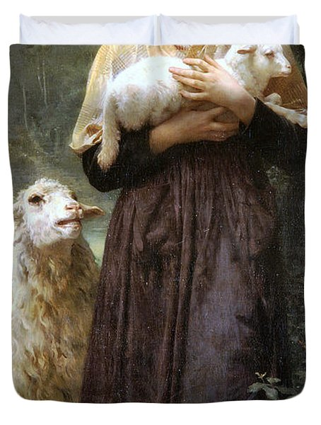 The Newborn Lamb Duvet Cover by William Bouguereau