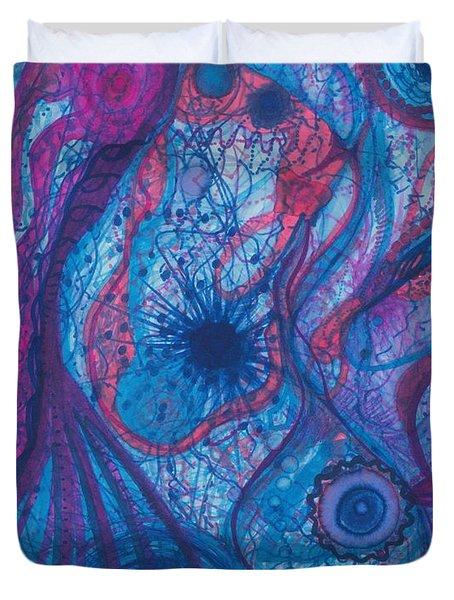 The Ocean's Blue Heart Duvet Cover by Daina White