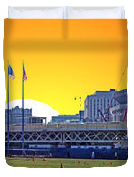 The Old and New Yankee Stadiums Side by Side at Sunset Duvet Cover by Nishanth Gopinathan