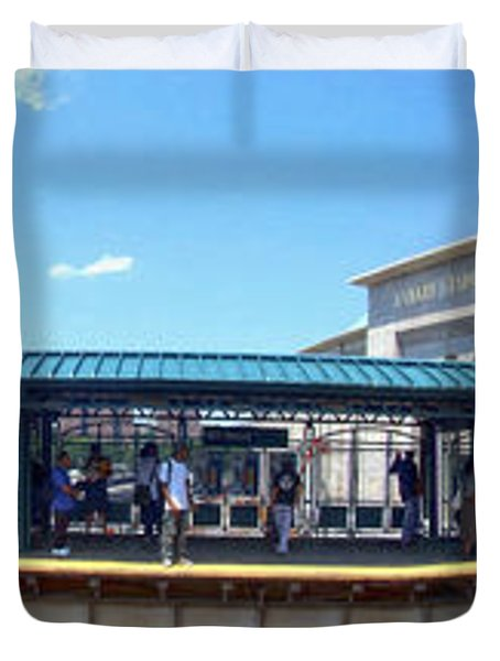 The Old And New Yankee Stadiums Panorama Duvet Cover by Nishanth Gopinathan