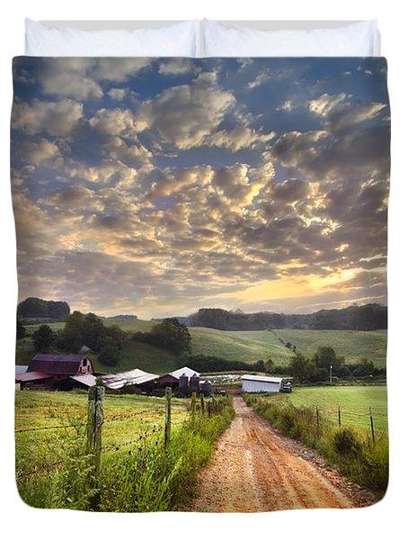 The Old Farm Lane Duvet Cover by Debra and Dave Vanderlaan