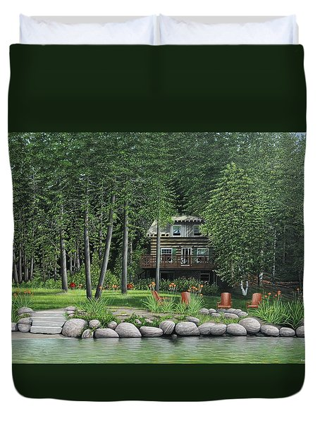 The Old Lawg Caybun On Lake Joe Duvet Cover by Kenneth M  Kirsch