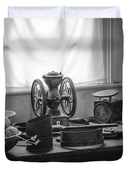The Old Table By The Window - Wonderful Memories Of The Past - 19th Century Table And Window Duvet Cover by Gary Heller