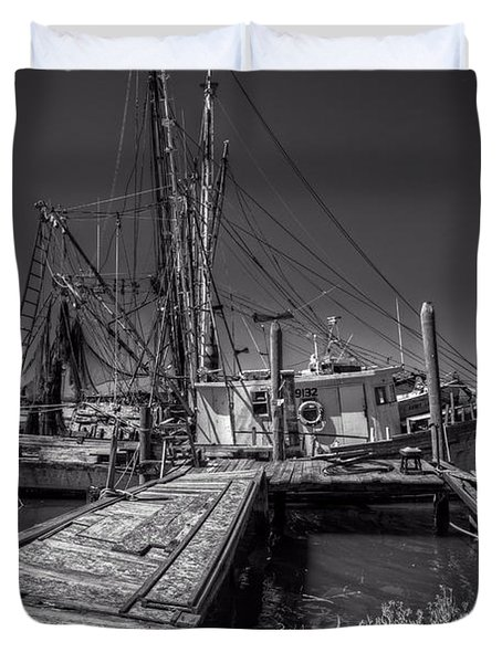 The Old Wharf In Brunswick Duvet Cover by Debra and Dave Vanderlaan