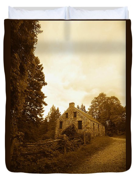 The Olde Stone Cottage Duvet Cover by Ron Haist