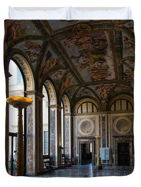 The Opulent Loggia In Villa Farnesina Rome Italy - 1 Duvet Cover by Georgia Mizuleva