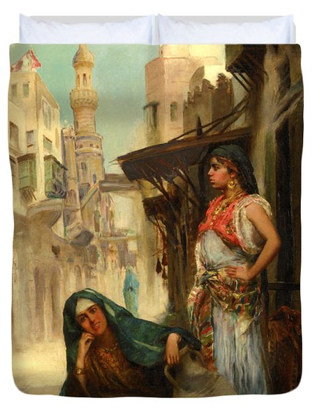 The Orange Seller Duvet Cover by Fabbio Fabbi