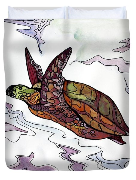 The Painted Turtle Duvet Cover by Pat Purdy