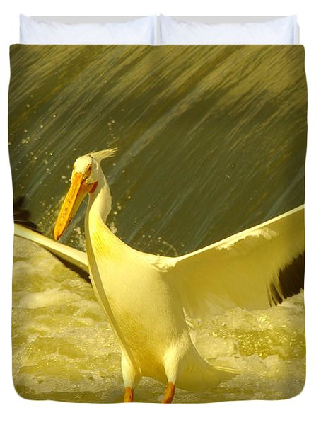 The Pelican Lands Duvet Cover by Jeff Swan