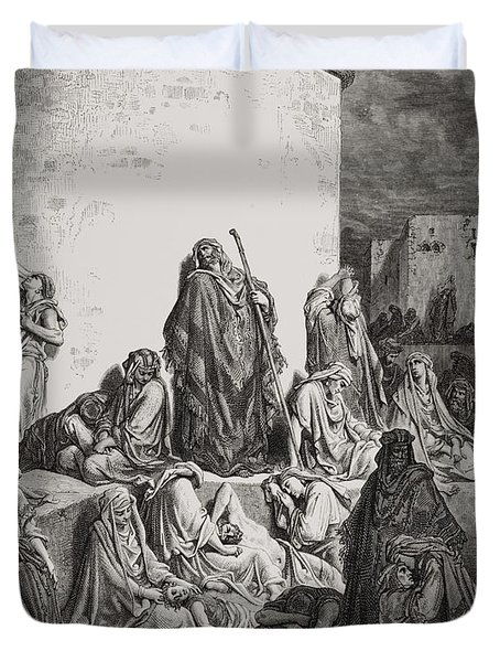 The People Mourning Over The Ruins Of Jerusalem Duvet Cover by Gustave Dore