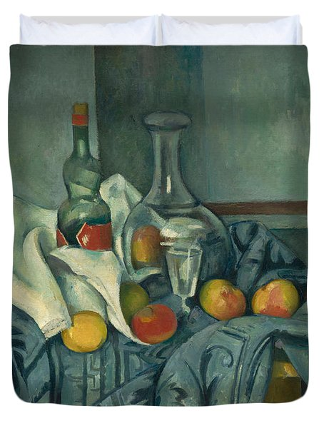 The Peppermint Bottle Duvet Cover by Paul Cezanne