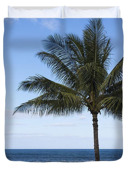 The Perfect Palm Tree - Sunset Beach Oahu Hawaii Duvet Cover by Brian Harig