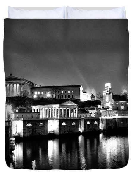 The Philadelphia Waterworks In Black And White Duvet Cover by Bill Cannon