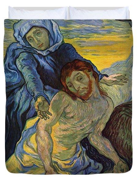 The Pieta After Delacroix 1889 Duvet Cover by Vincent Van Gogh