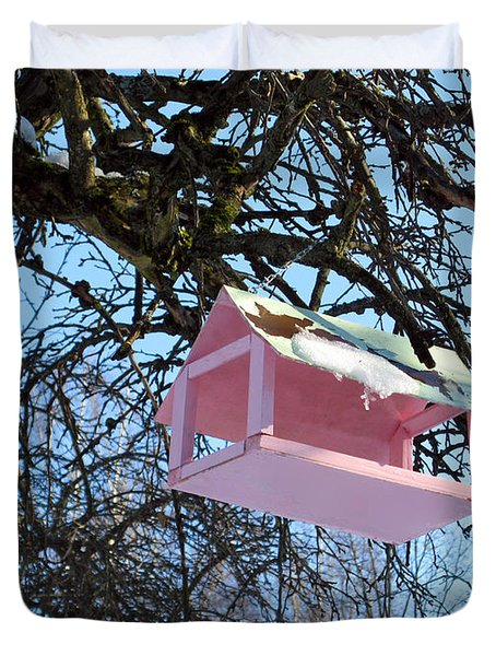The Pink Bird Feeder Duvet Cover by Ausra Paulauskaite