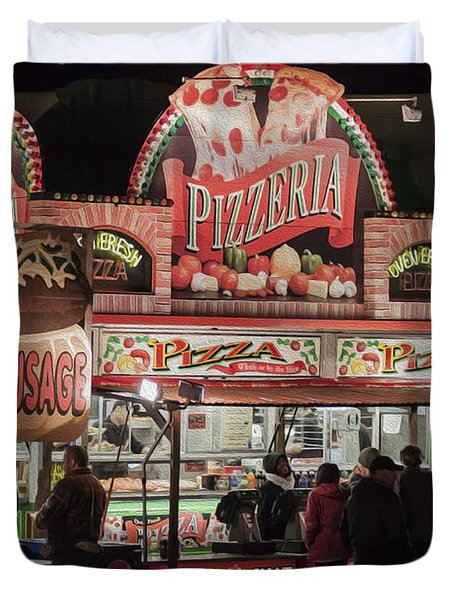 The Pizzeria in Neon Duvet Cover by Janice Rae Pariza