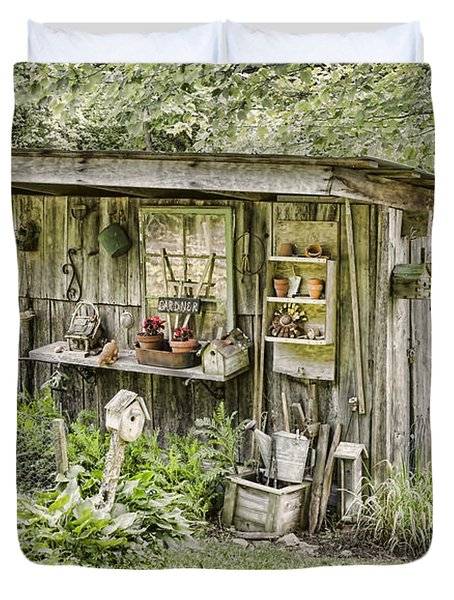 The Potting Shed Duvet Cover by Heather Applegate