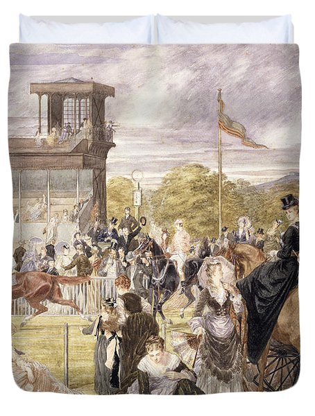 The Races At Longchamp In 1874 Duvet Cover by Pierre Gavarni