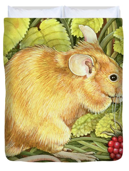 The Raspberry Mouse Duvet Cover by Ditz