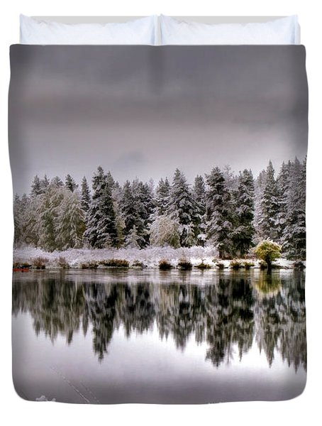 The Red Canoe Duvet Cover by Donna Kennedy