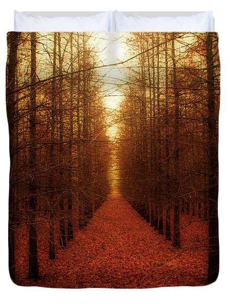 The Red Forest Duvet Cover by Amy Tyler
