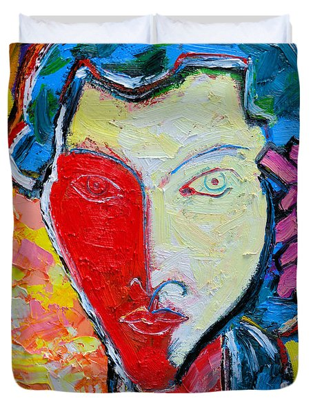 The Red Half Expressionist Girl Portrait  Duvet Cover by Ana Maria Edulescu