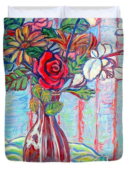 The Red Rose Duvet Cover by Kendall Kessler