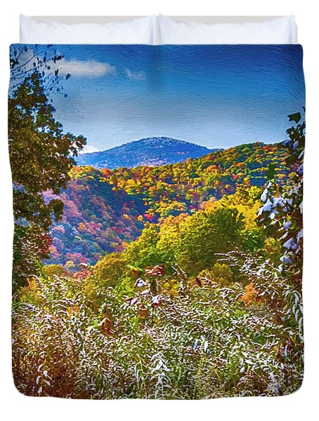 The Road To Cataloochee On A Frosty Fall Morning Duvet Cover by John Haldane