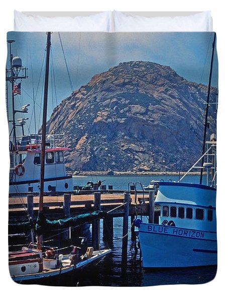 The Rock At Morro Bay Duvet Cover by Kathy Yates