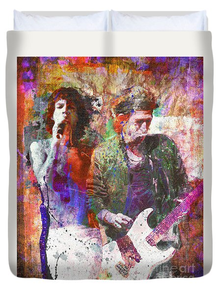 The Rolling Stones Original Painting Print  Duvet Cover by Ryan Rock Artist