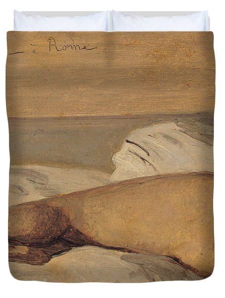 The Roman Odalisque Duvet Cover by Jean Baptiste Camille Corot