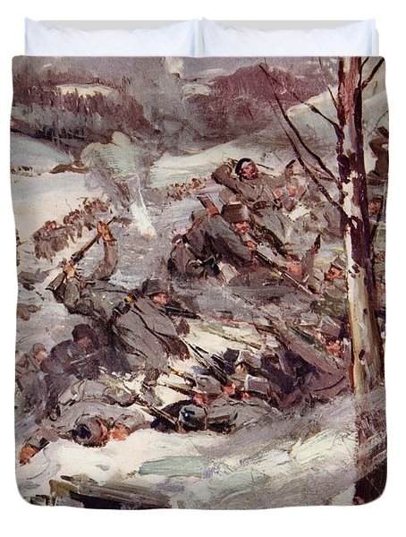 The Russians Fighting Their Way Over The Carpathians Duvet Cover by Cyrus Cuneo