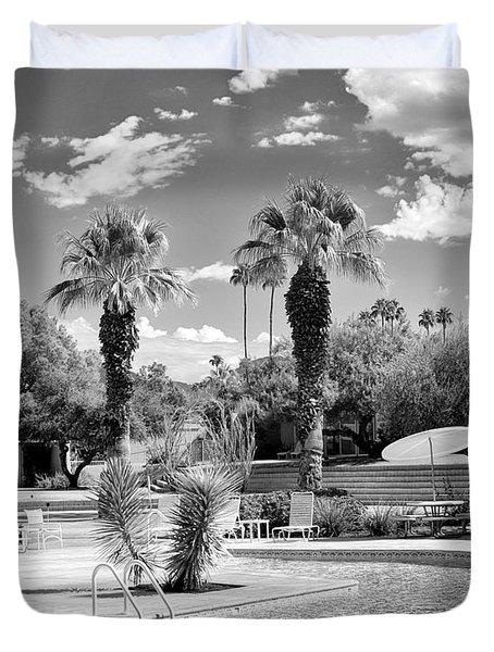 The Sandpiper Pool Bw Palm Desert Duvet Cover by William Dey